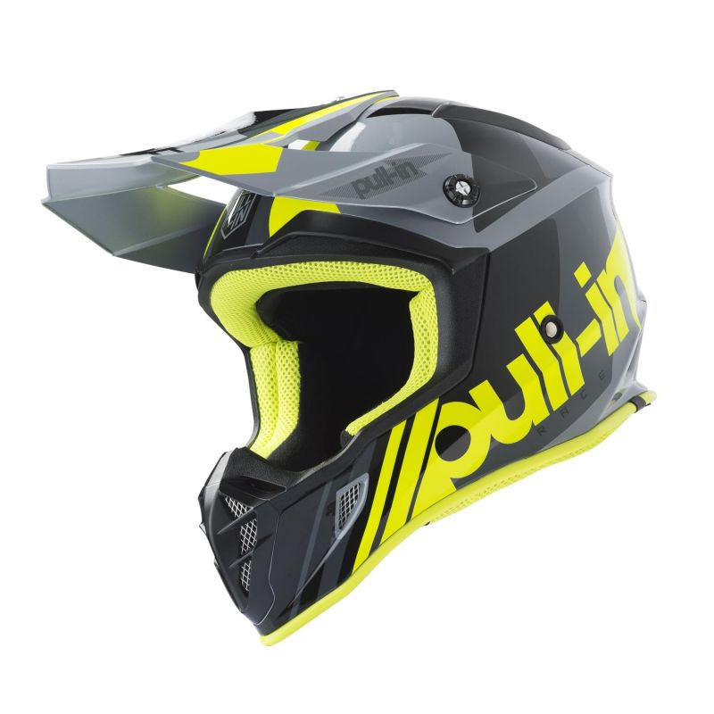 Casque cross Pull-in Race gris/jaune fluo
