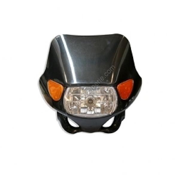 tete de fourche moto rectangle noire avec clignotant orange integree. Black Bedroom Furniture Sets. Home Design Ideas