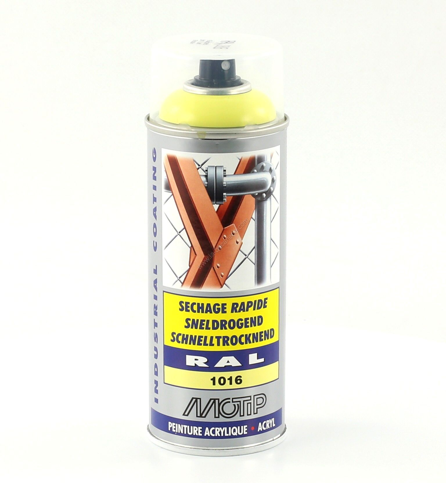 bombe peinture jaune soufre brillant acrylique ral 1016 motip 400 ml m07003. Black Bedroom Furniture Sets. Home Design Ideas