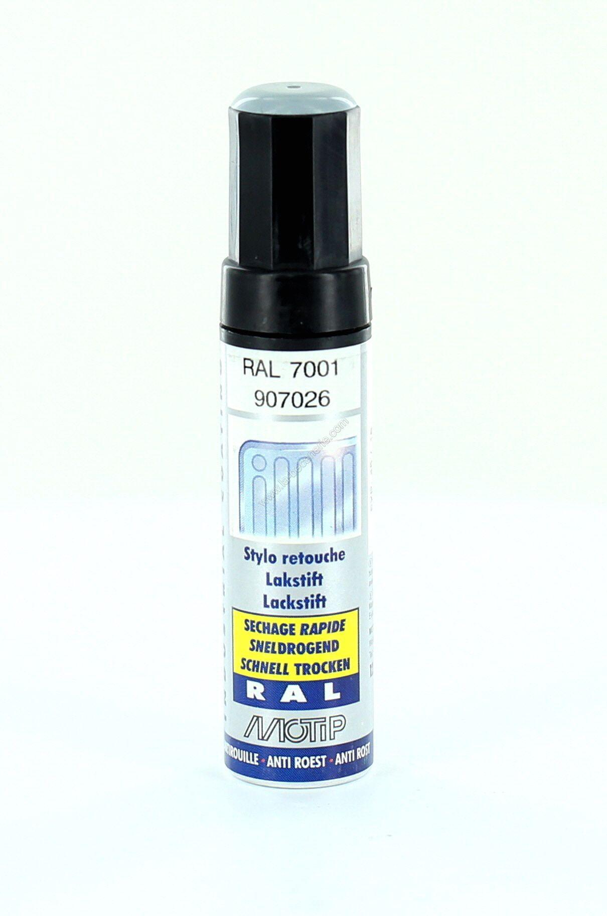 Pinceau retouche peinture gris argent brillant acrylique ral 7001 motip 12 ml m907026 peinture for Peinture gris brillant