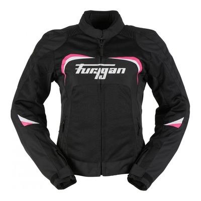 Blouson textile femme Furygan Cyane vented noir/blanc/rose
