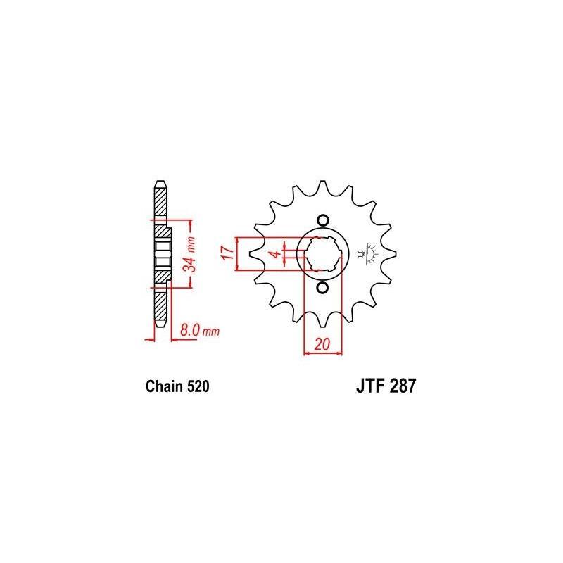 Pignon JT Sprockets Acier pas 520 13 dents - Pour Honda CRF 230 L 08-09