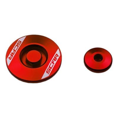 Bouchons de carter moteur latéraux Scar en aluminium anodisé rouge pour Honda CRF 250 R 10-16