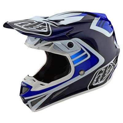 Casque cross Troy Lee Designs SE4 Carbon Flash Mips bleu/blanc