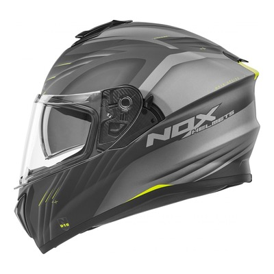 Casque intégral Nox N918 Upside mat blanc/noir/jaune fluo