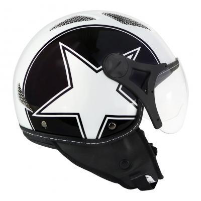 Casque jet TNT Helios Star blanc/noir brillant SB13B