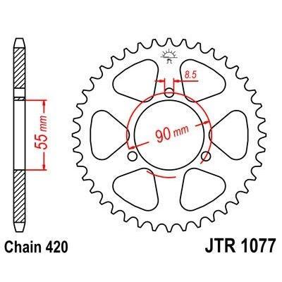 Couronne JT Sprockets Acier pas 420 47 dents - Pour Rieju 50 RS2 Matrix 03-10