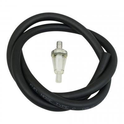 Kit durite d'essence 8x12 noir 1m avec filtre à essence conique Ø8