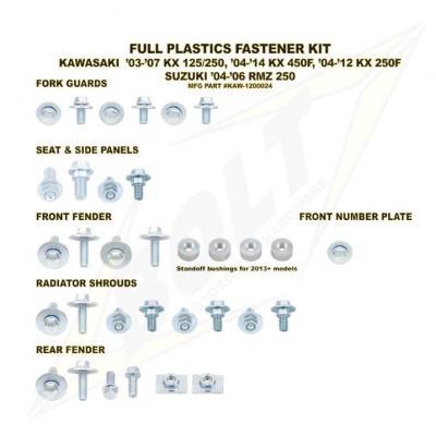 Kit visserie complet de plastiques Bolt pour Kawasaki KX 250 F 13-16