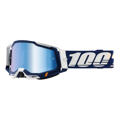 Masque cross 100% Racecraft 2 Concordia bleu/blanc écran iridium bleu