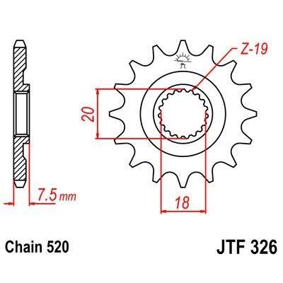 Pignon JT Sprockets Acier pas 520 12 dents - Pour Honda CR 125 R 1997