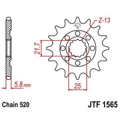 Pignon JT Sprockets Acier pas 520 13 dents - Pour Kawasaki KX-F 450 06-16 Anti-boue