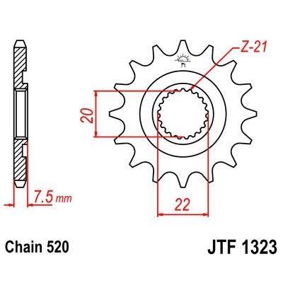 Pignon JT Sprockets Acier pas 520 14 dents - Pour Honda CRF 250 X 04-13 anti-boue