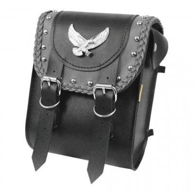 Sacoche de sissybar Willie & Max double sangles cuir synthétique bords tressés noir aigle métal