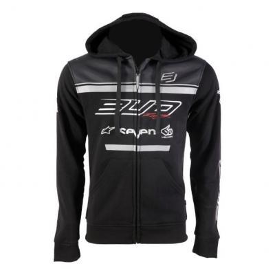 Sweat à capuche zippé Bud Racing Team 19 gris/noir
