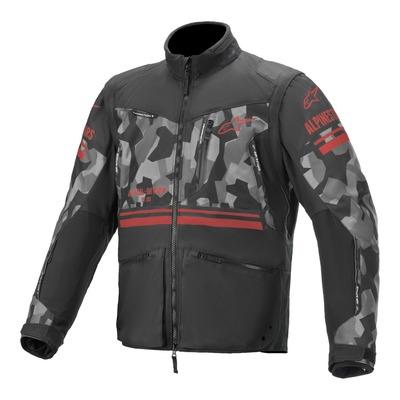 Veste enduro Alpinestars Venture R gris camouflage/rouge fluo