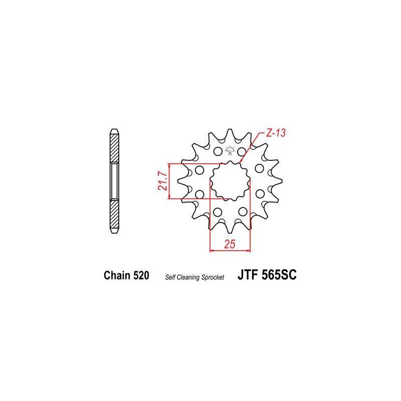Pignon JT Sprockets Acier pas 520 13 dents - Pour Yamaha YZ-F 450 07-17 Anti boue