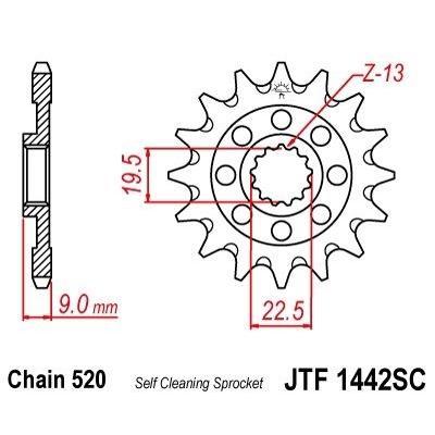 Pignon JT Sprockets Acier pas 520 13 dents - Pour Suzuki RM-Z 250 13-16 anti-boue