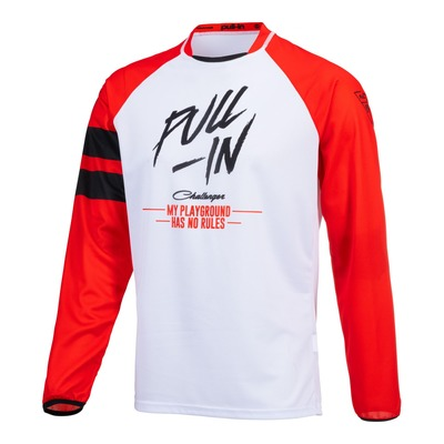 Maillot cross enfant Pull-in Challenger Original Solid rouge/blanc