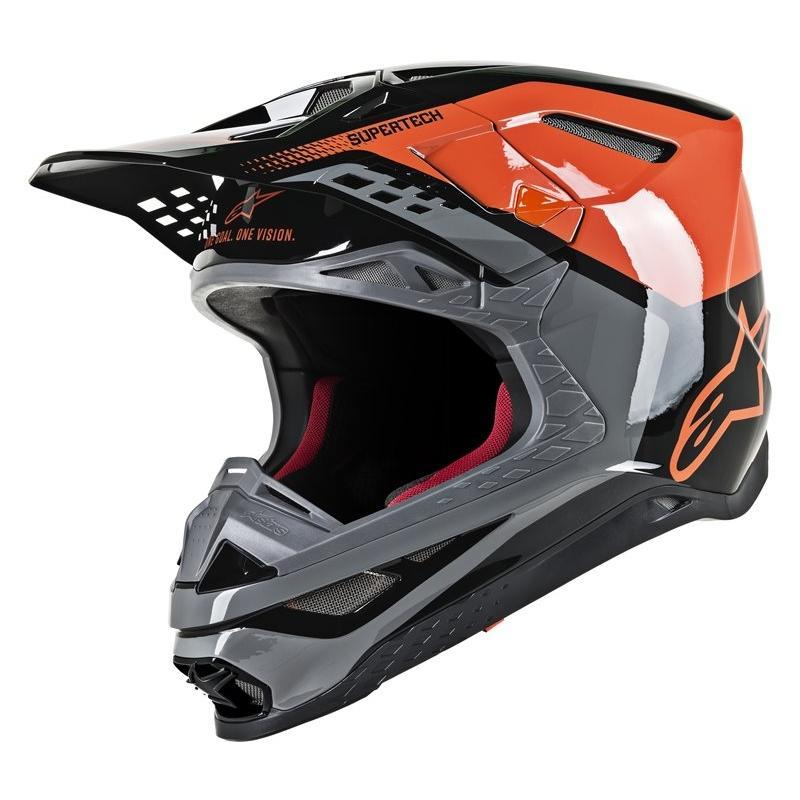 Casque cross Alpinestars Supertech S-M8 Tripple orange/gris/noir