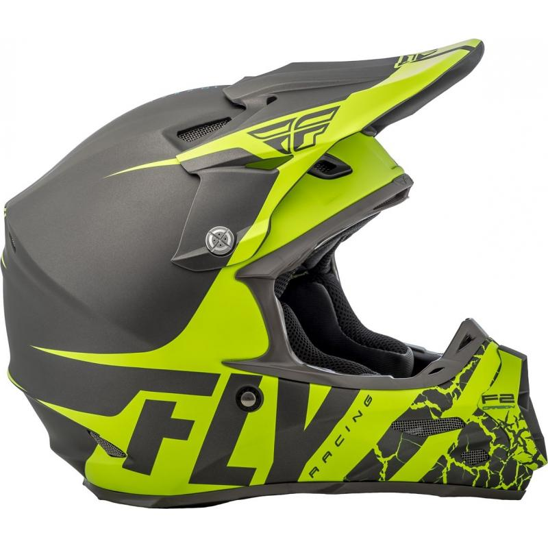Casque cross Fly Racing F2 Carbon Fracture gris/jaune fluo - 1
