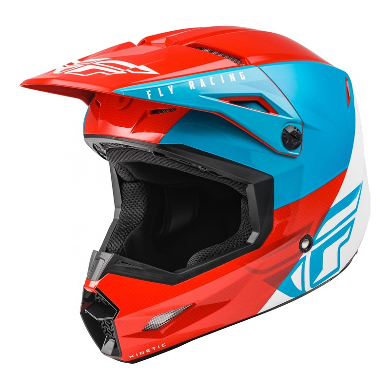 Casque cross Fly Racing Kinetic Straight Edge rouge/blanc/bleu