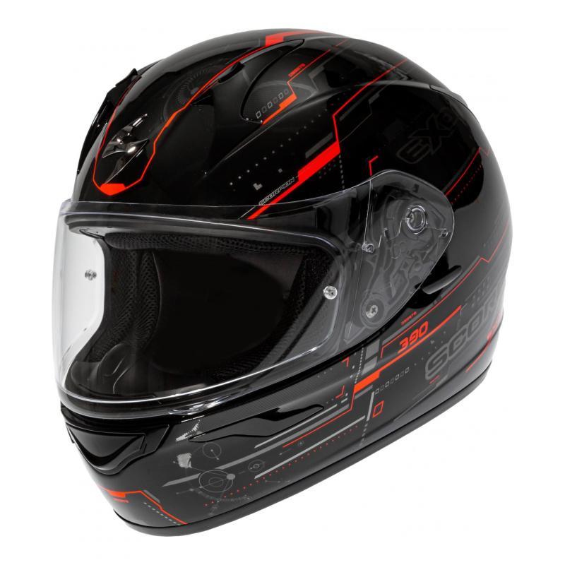 Casque intégral Scorpion Exo-390 Beat noir/rouge neon