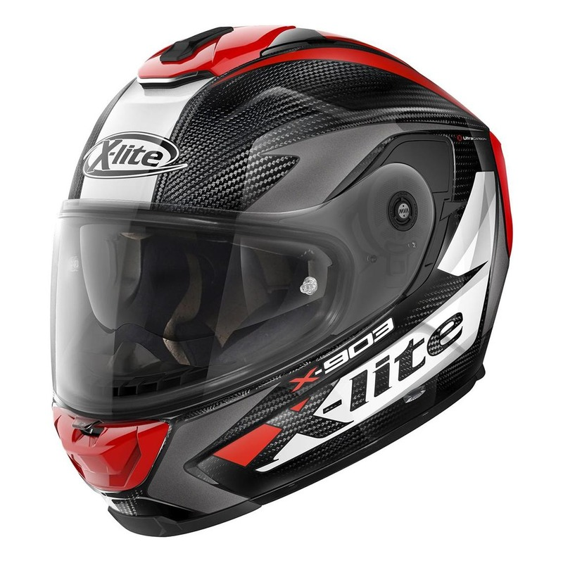 Casque intégral X-Lite X903 Ultra Carbon Nobiles N-Com blanc/rouge/carbone