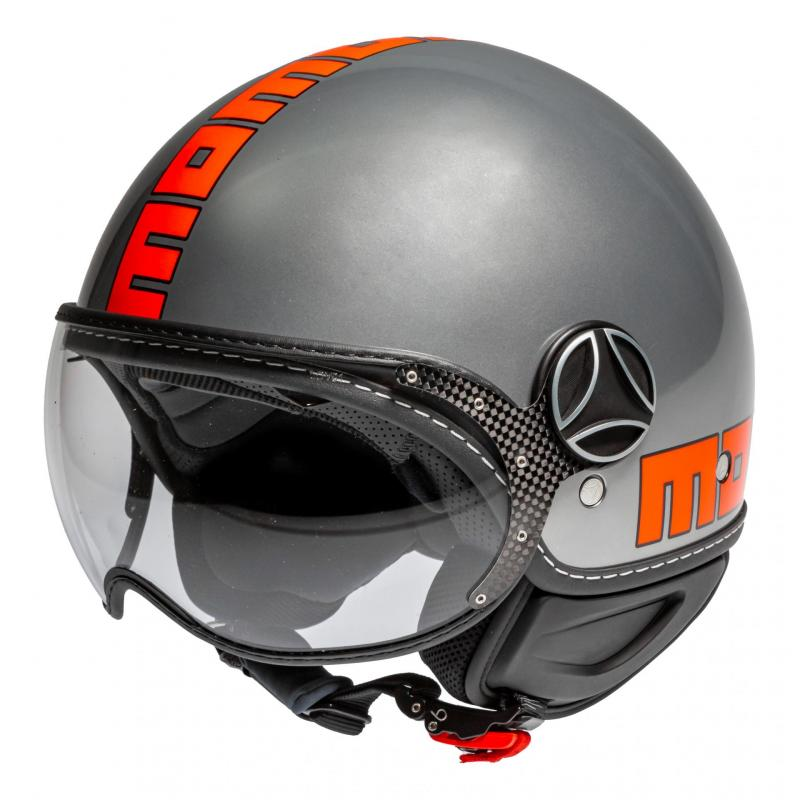 Casque jet Momo Design FGTR EVO gris métal/orange