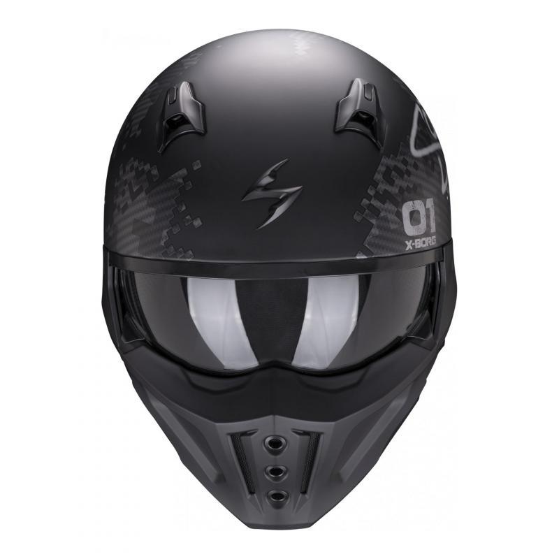 Casque jet Scorpion Covert-X Xborg noir/argent mat - 2