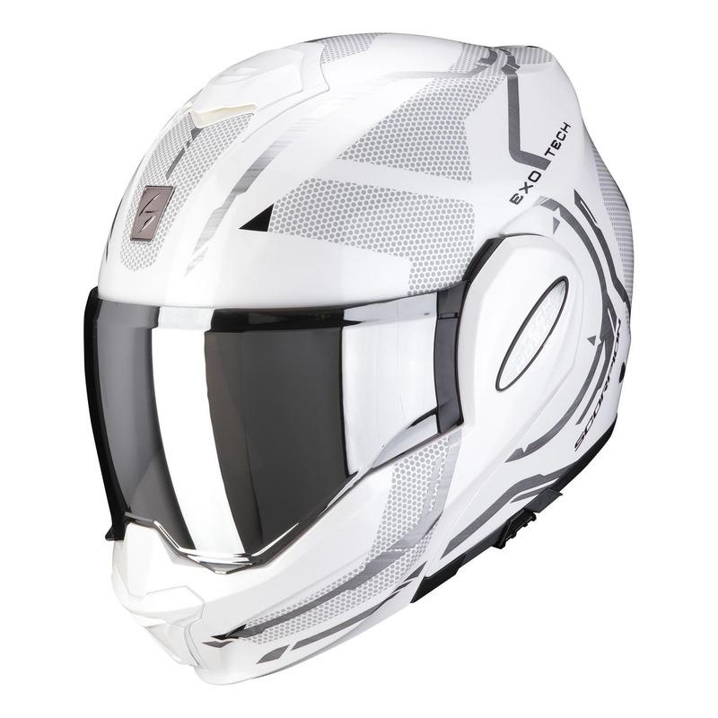 Casque modulable Scorpion EXO-Tech Square nacré blanc/argent