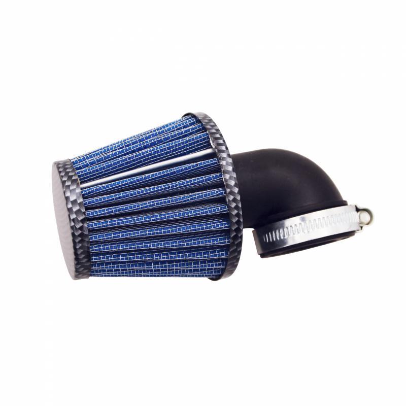 Filtre à air KN Replay middle avec fixation coudée Ø35-25 carbone-bleu