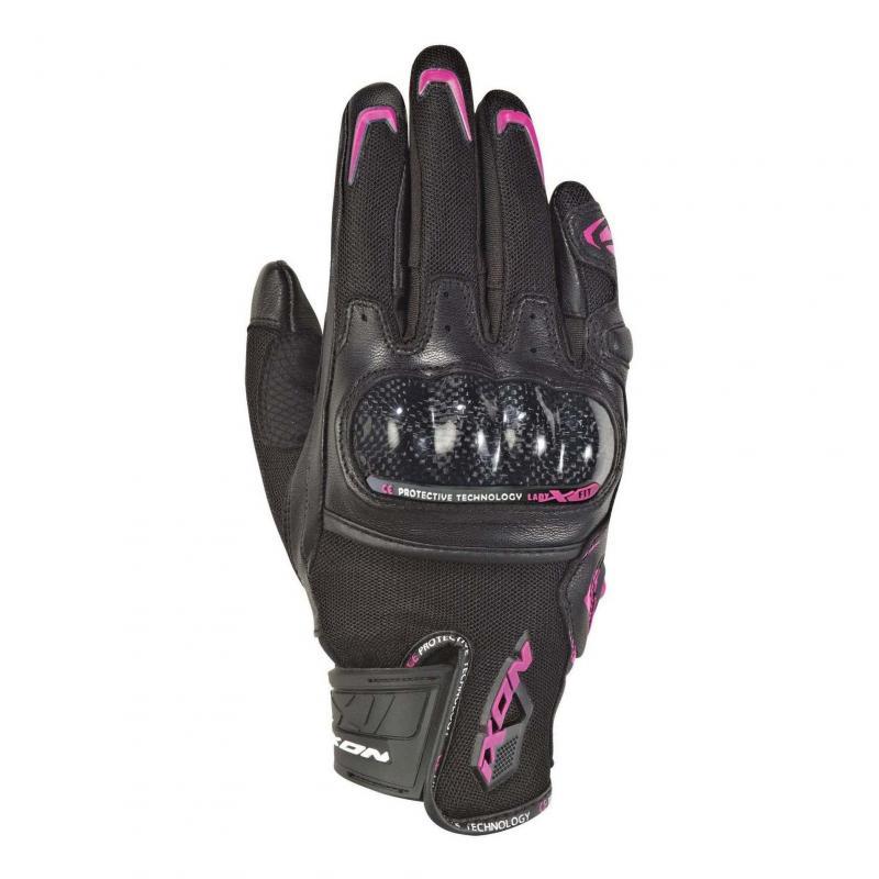 Gants été textile/cuir femme Ixon RS Rise Air noir/fushia