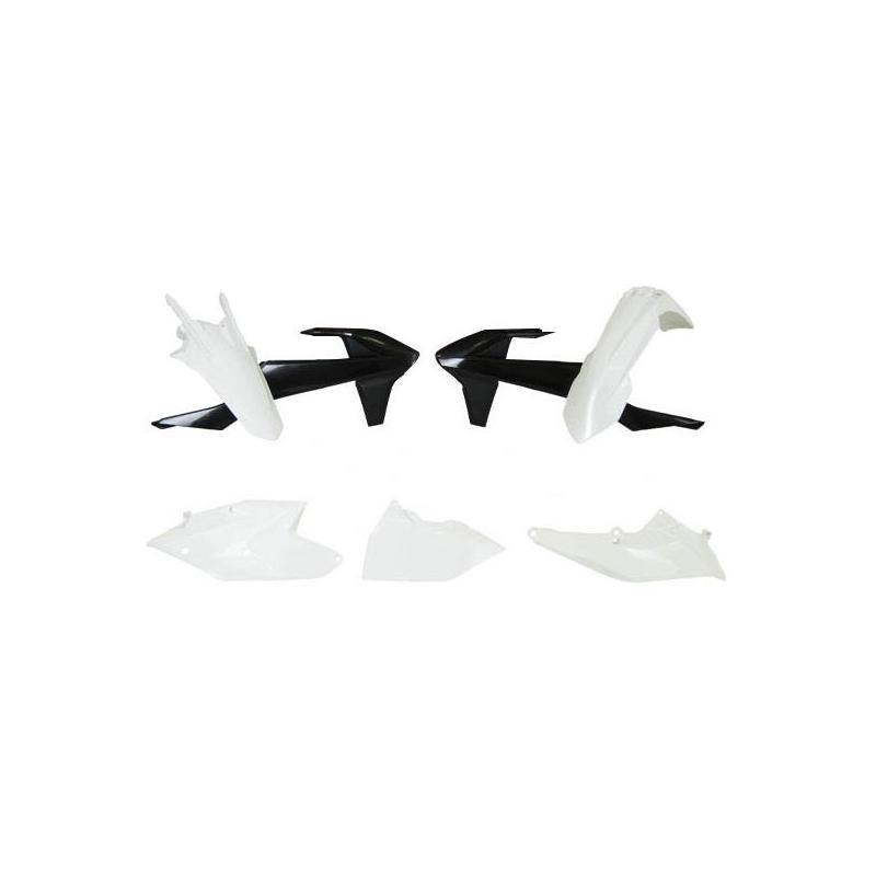 Kit plastique RTech KTM 250 EXC-F 17-19 noir/blanc (couleur OEM Six Days 2019)