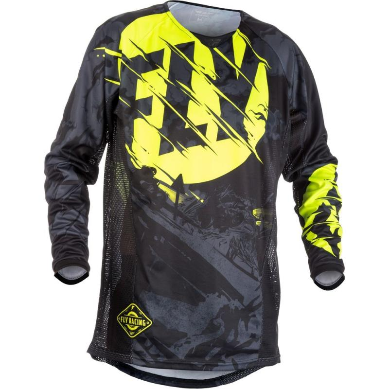 Maillot cross enfant Fly Racing Kinetic Outlaw noir/jaune fluo