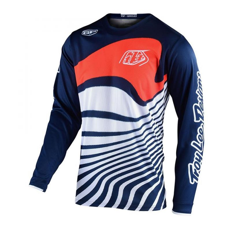 Maillot cross Troy Lee Designs GP Drift bleu/orange