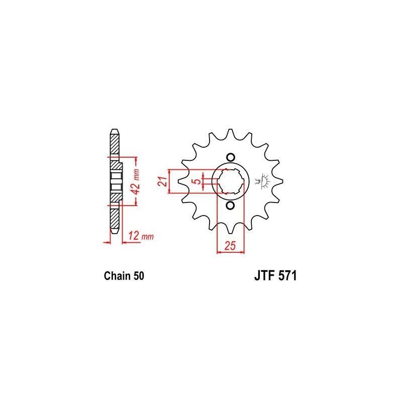 Pignon JT Sprockets Acier pas 520 16 dents - Pour Yamaha XJ 550 81-85