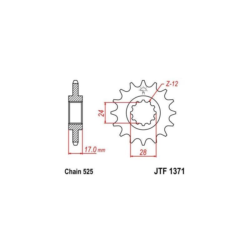Pignon JT Sprockets Acier pas 525 14 dents - Pour Honda CB 600 F Hornet 98-06