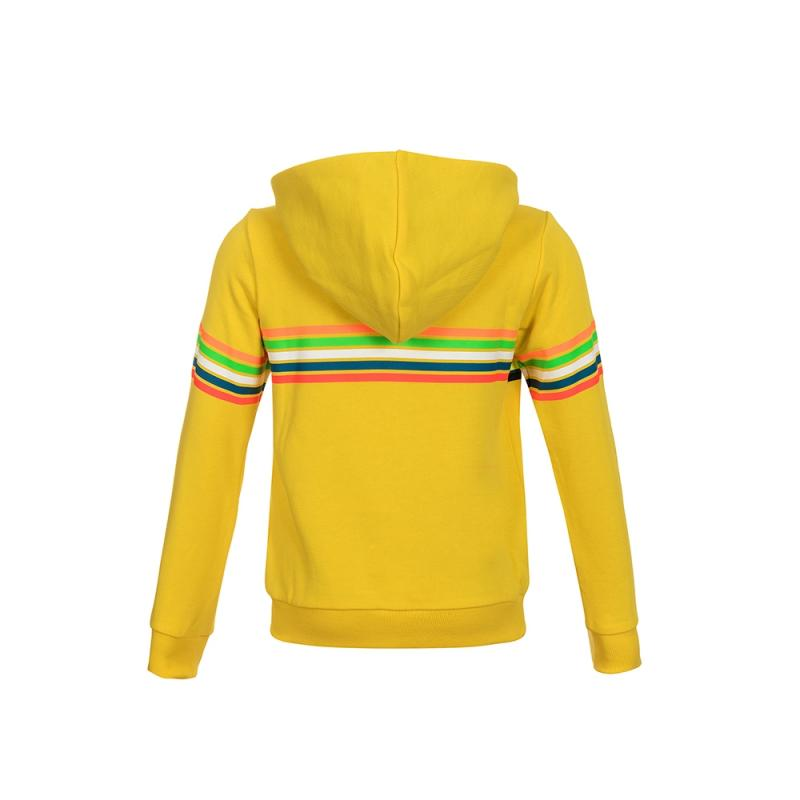 Sweat zip capuche enfant VR46 Valentino Rossi Stripes jaune 2018 - 1