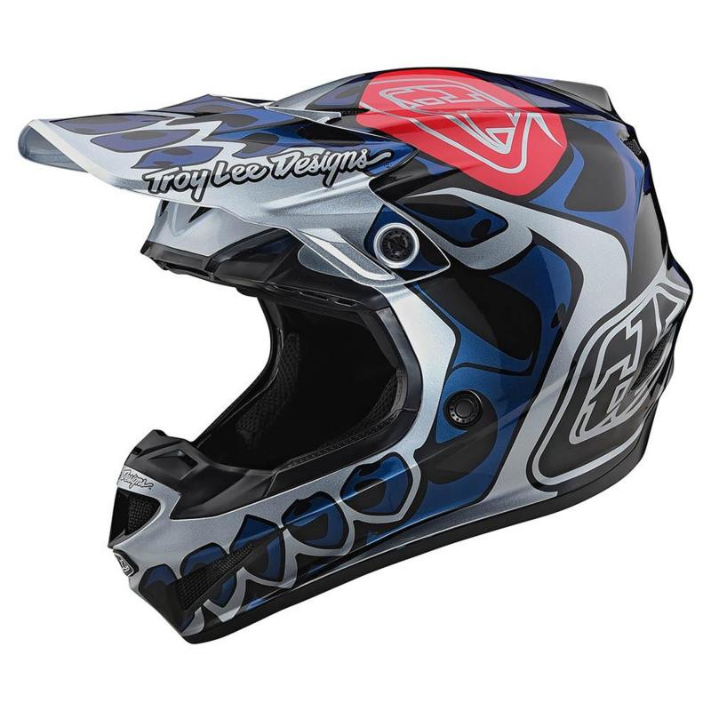Casque cross Troy Lee Designs SE4 Polyacrylite Skully Mips argent