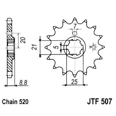 Pignon JT Sprockets Acier pas 520 14 dents - Pour Kawasaki KX 500 83-86