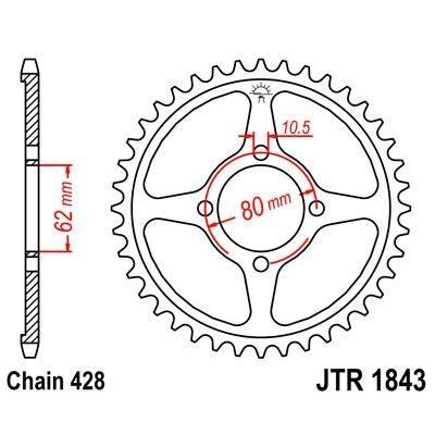 Couronne JT Sprockets Acier pas 428 49 dents - Pour Yamaha TT-R 125 petites roues 02-10