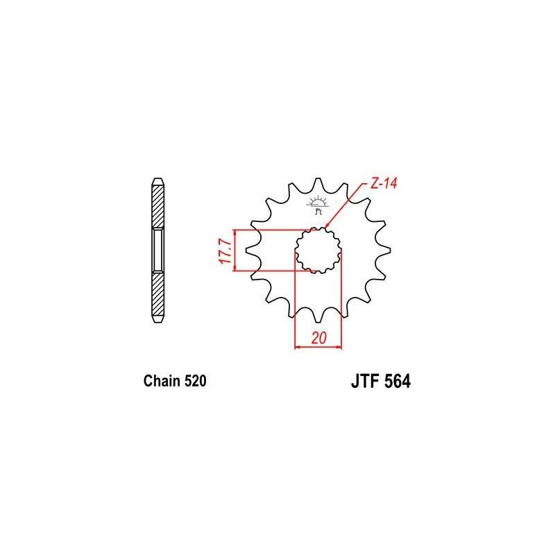 Pignon JT Sprockets Acier pas 520 13 dents - Pour Gas Gas EC 125 03-12