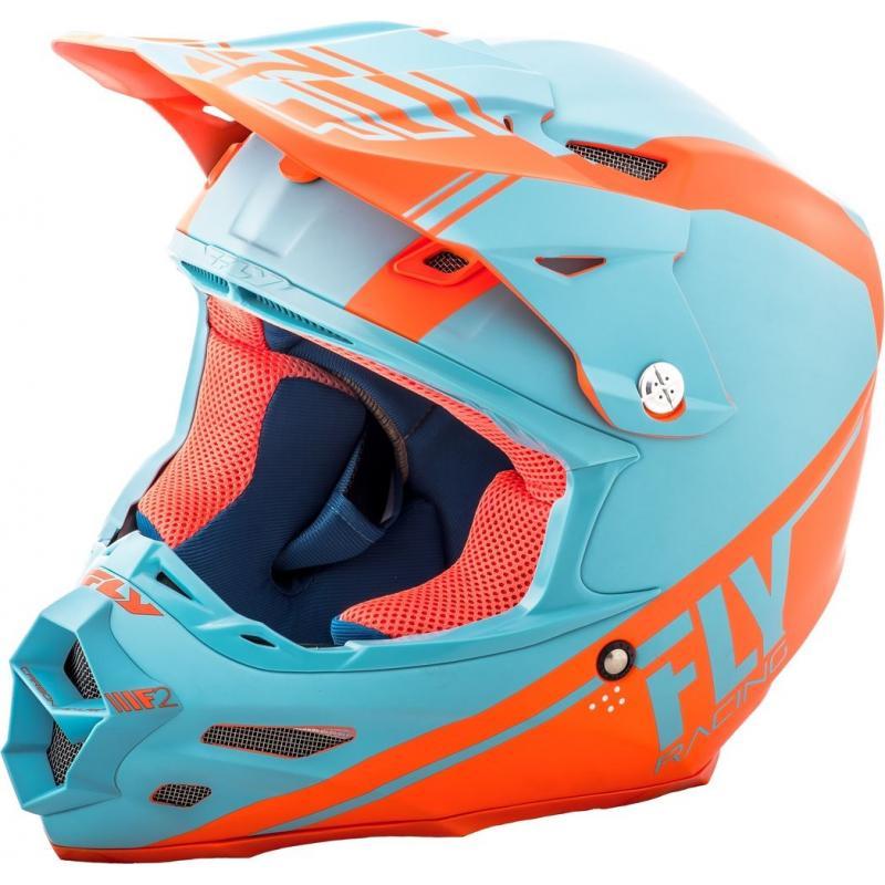Casque cross Fly Racing F2 Carbon Rewire orange/bleu