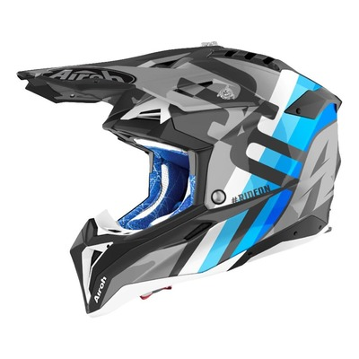 Casque cross Airoh Aviator 3 Rainbow anthracite/bleu/blanc mat
