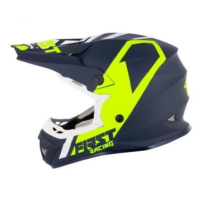 Casque cross First Racing K2 Polycarbonate bleu/jaune fluo/blanc