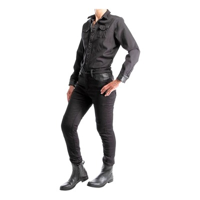 Combinaison jean moto femme Overlap Tess noir CE