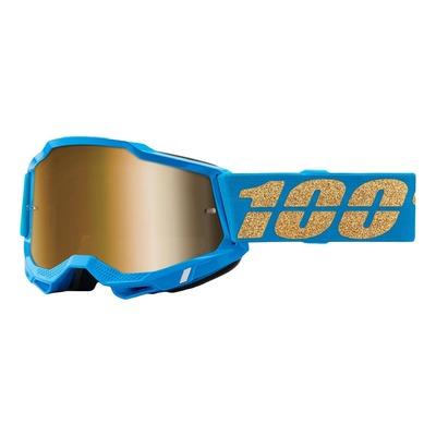 Masque cross 100% Accuri 2 Waterloo bleu/or écran iridium or