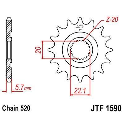 Pignon JT Sprockets Acier pas 520 13 dents - Pour Yamaha YZ-F 250 01-16 Anti-boue