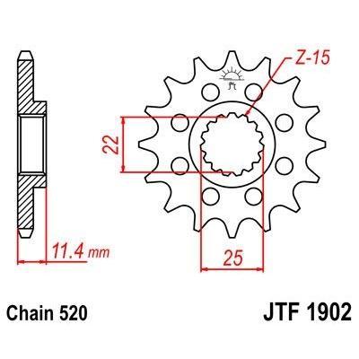 Pignon JT Sprockets Acier pas 520 14 dents - Pour KTM 620 LC4 Enduro 95-96